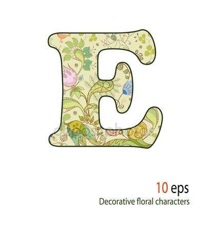 Pobieraj Ozdobne Litery Kwiaty I Ptaki Alfabet Czcionki Ilustracja Stockowa 10459366 Decorative Letters Stock Illustration Floral