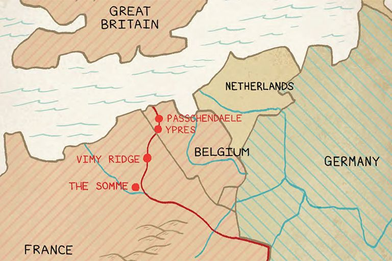 Map Of France Vimy.This Is An Image Of A Map That Highlights The Locations Of Four
