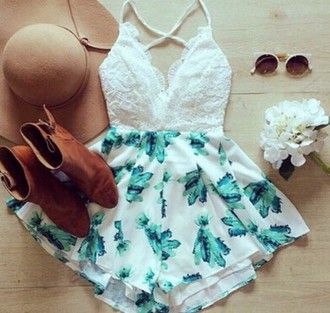 99b66d838543 dress jumpsuit romper shorts top white lace green floral occassion girly  detail cute formal event tumblr boots brown rider chelsea hat summer spring  lacy ...