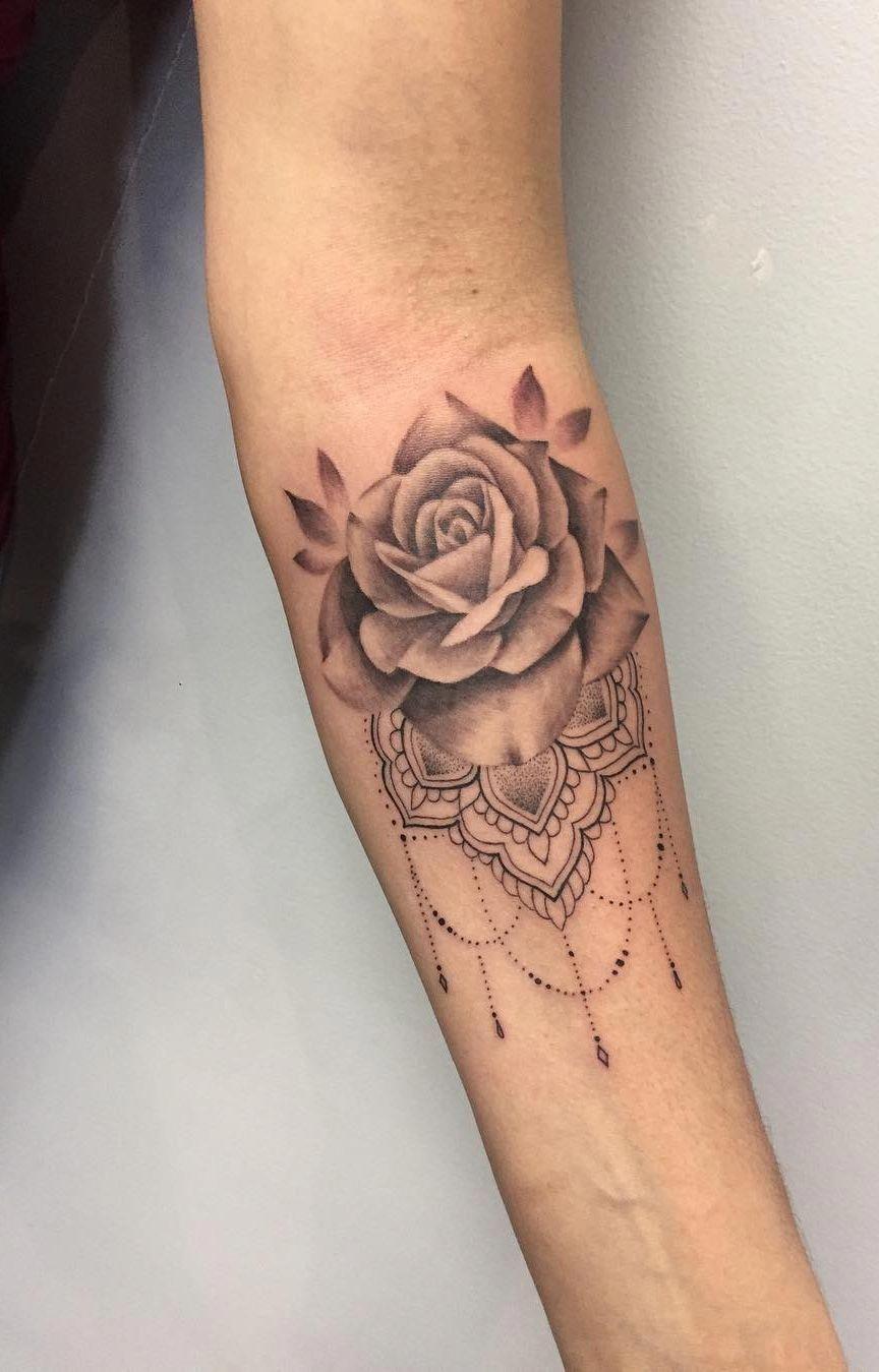 Awesome Rose Mandala Tattoo C Tattoo Artist Nikki Ouimette Mandalatattoo Forearm Tattoo Women Mandala Tattoo Design Mandala Wrist Tattoo