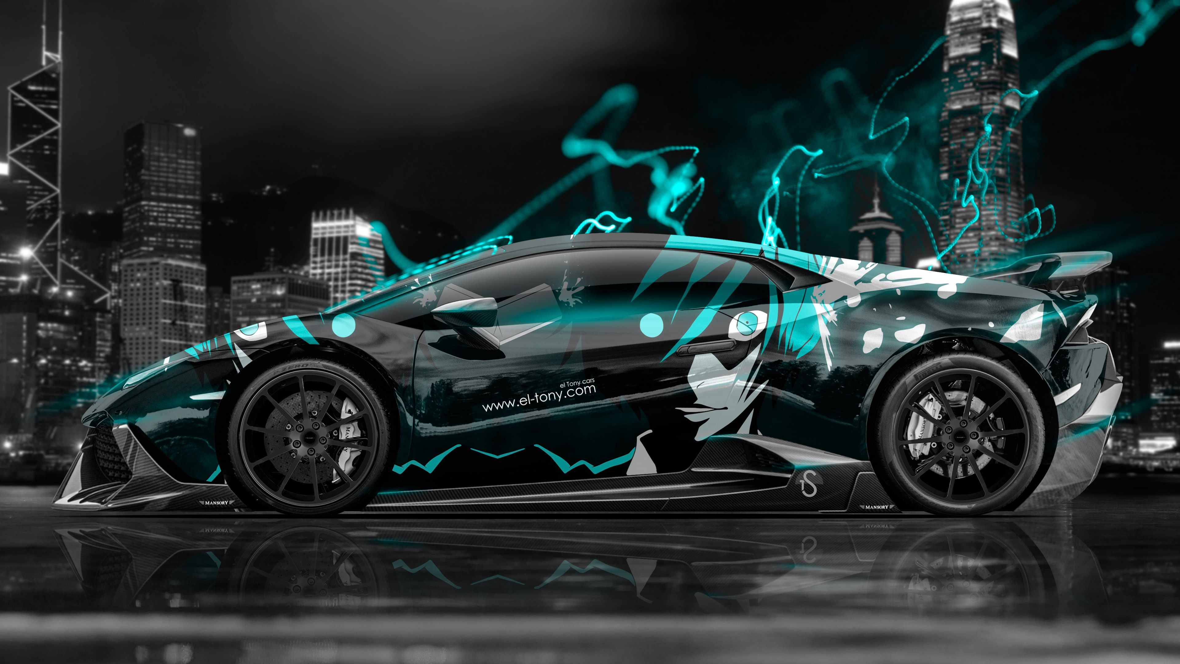 Lamborghini  Huracan Mansory Tuning Side Anime Boy Aerography City Energy Car 2015 Art Azure Neon  Effects 4K Wallpapers Design By Tony Kokhan Www.el Tony.com ...