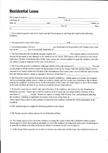 Printable Sample Residential Lease Form  Printable Lease Forms