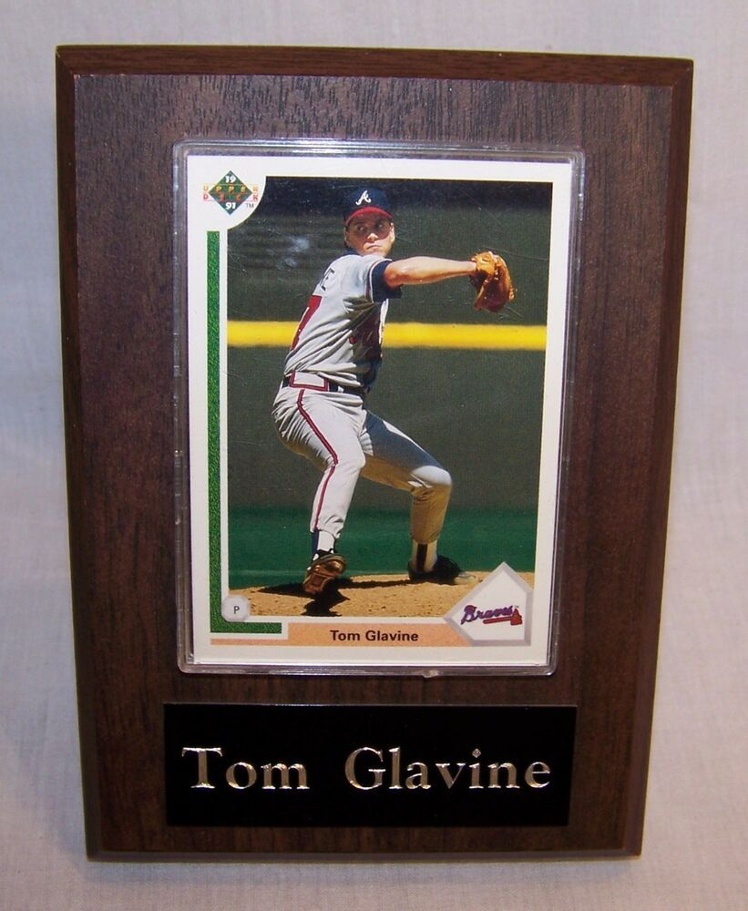 Upper Deck Baseball Card Tom Glavine 480 1991 W Wooden Plaque In