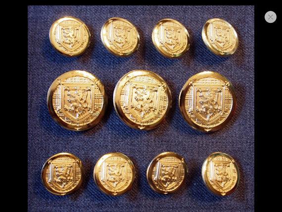 11 Antique Gold Shank Military Buttons Set for Suit Jackets Blazer Sport Coat