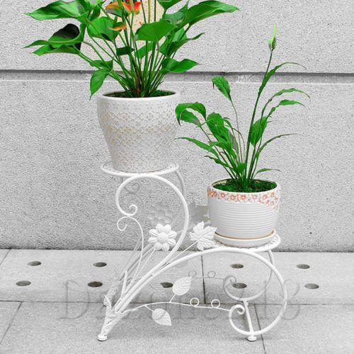 2 Tier White Metal Flower Pot Plant Stand Home Garden Patio Decor Bonsai Holder Metal Flower Pots Flower Pots Metal Plant Stand