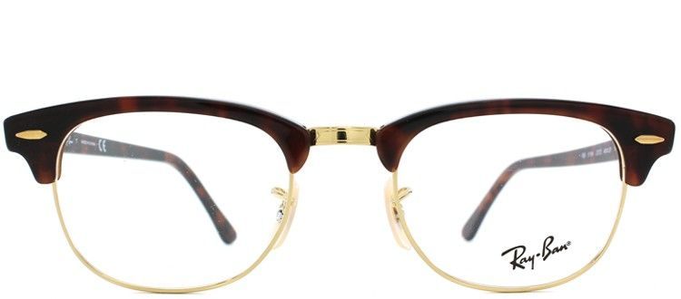 4eae866dd6 Ray Ban RX5154 Clubmaster 2372 Red Tortoise   Gold Plastic Optical Frame