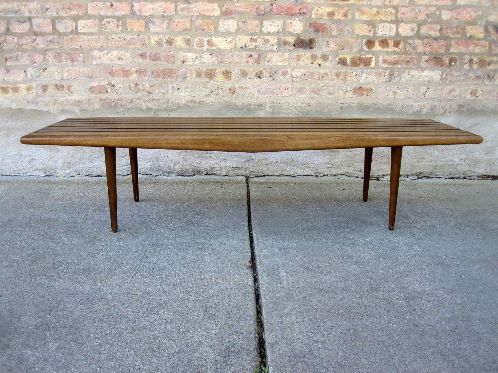 circa midcentury danish modern slat bench coffee table