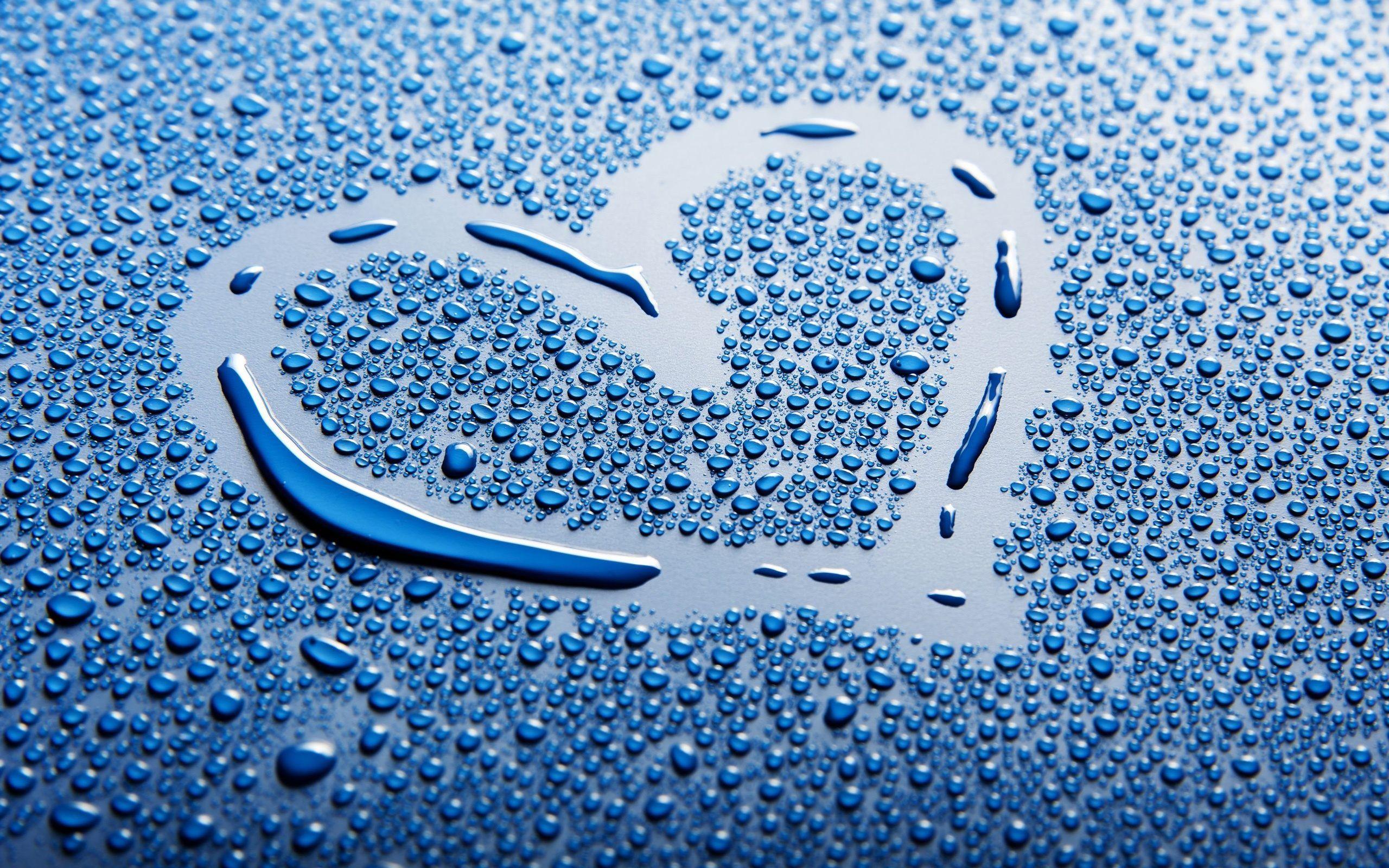 Blue Heart Water Drop Love Wallpaper Heart Wallpaper Love