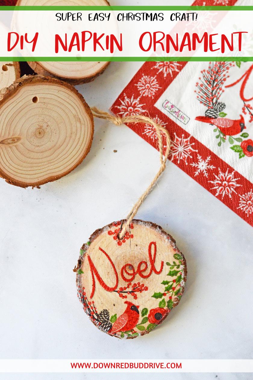 Napkin Ornaments Diy Napkin Ornament Wood Slice Ornament Napkin Decoupage Ornaments Paper N Easy Christmas Crafts Ornaments Diy Diy Christmas Ornaments