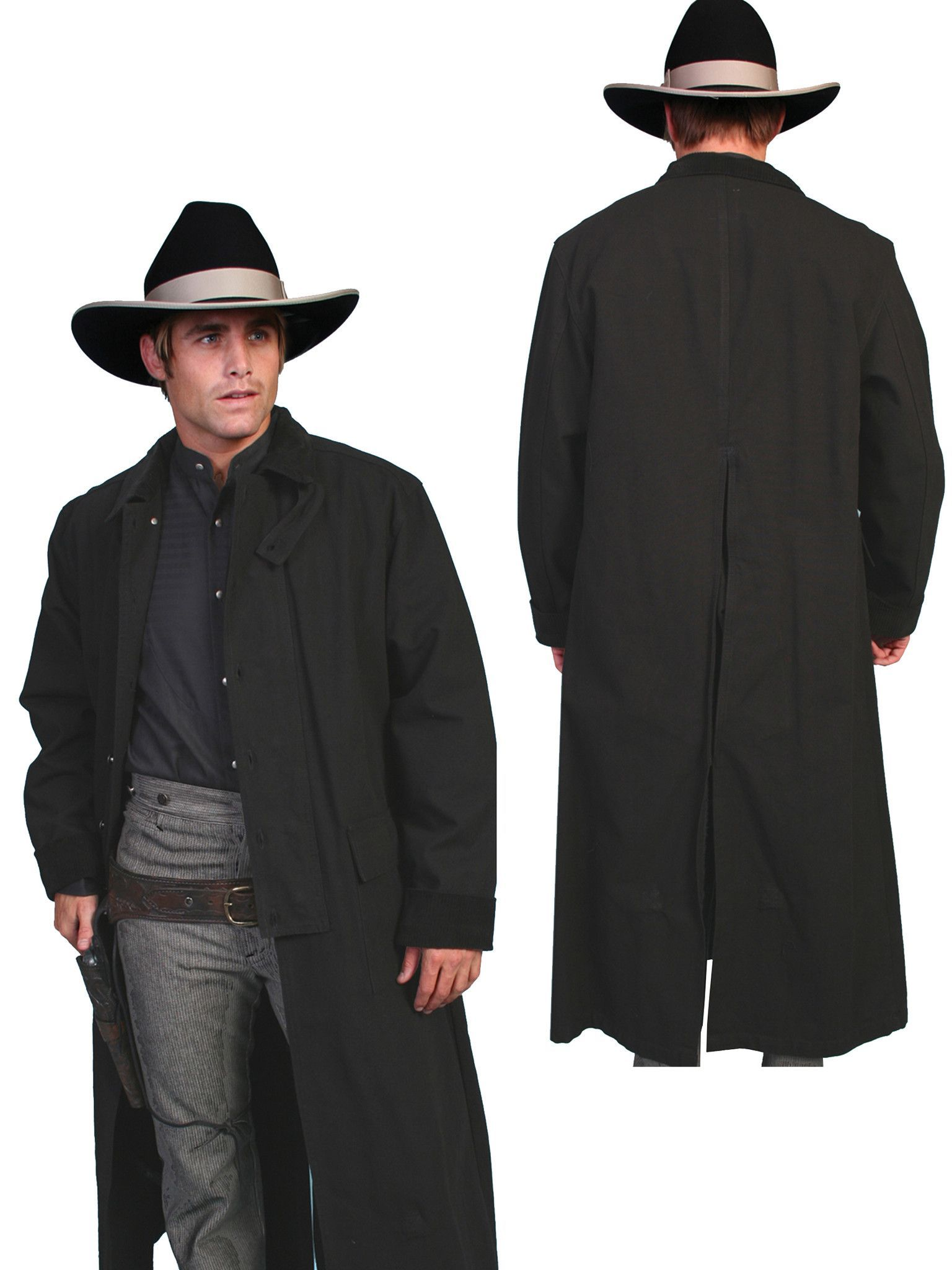 Scully RangeWear Mens Black 100% Cotton Long Overcoat Duster Coat ...