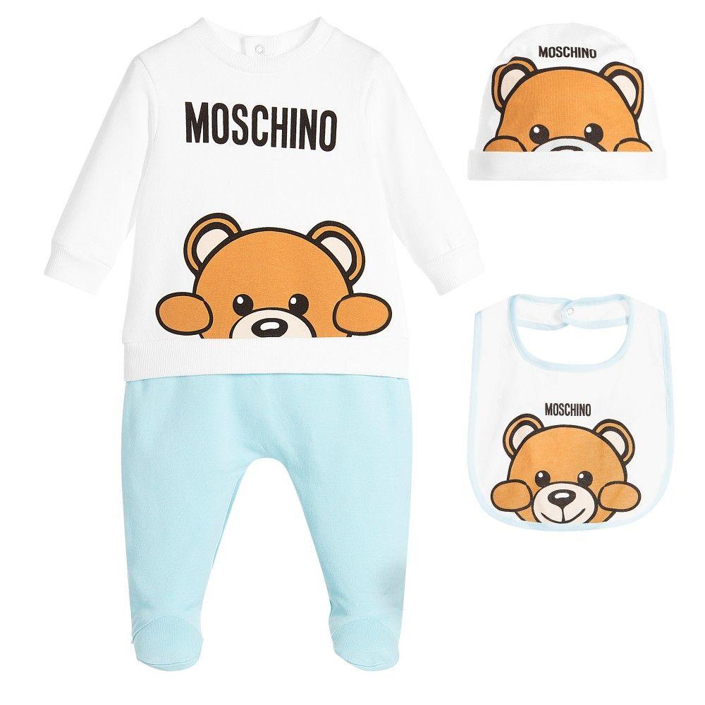 55405c67c Moschino Baby - Blue   White 3 Piece Babygrow Gift Set ...