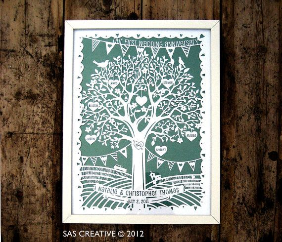 Family Tree First Wedding Anniversary Papercut Template