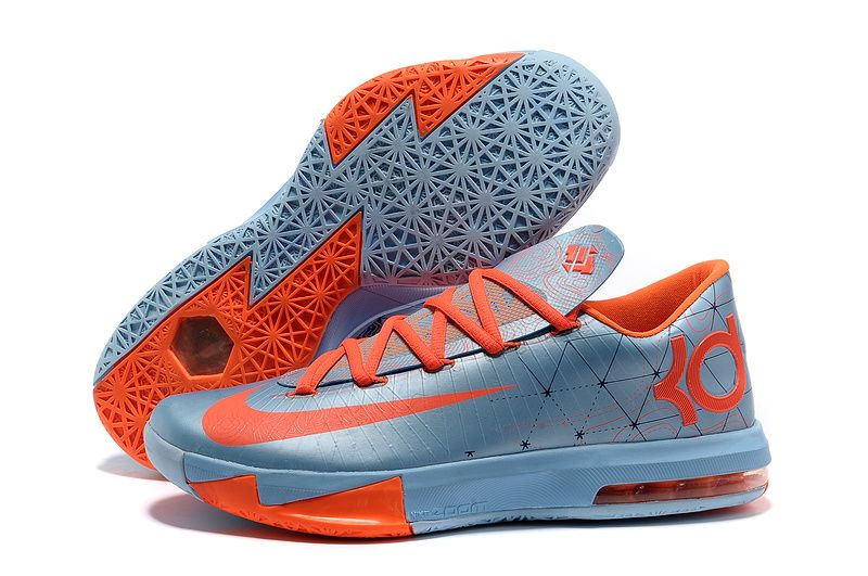 Nike Zoom Kevin Durant KD 6 Ice Blue Orange Basketball Shoes