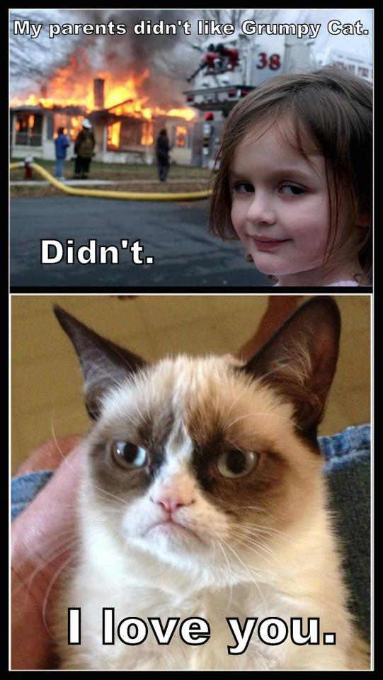 "Girl On Fire Grumpy Cat | Girl: ""My parents didn't like Grumpy cat""... Grumpy cat ""I like you ..."