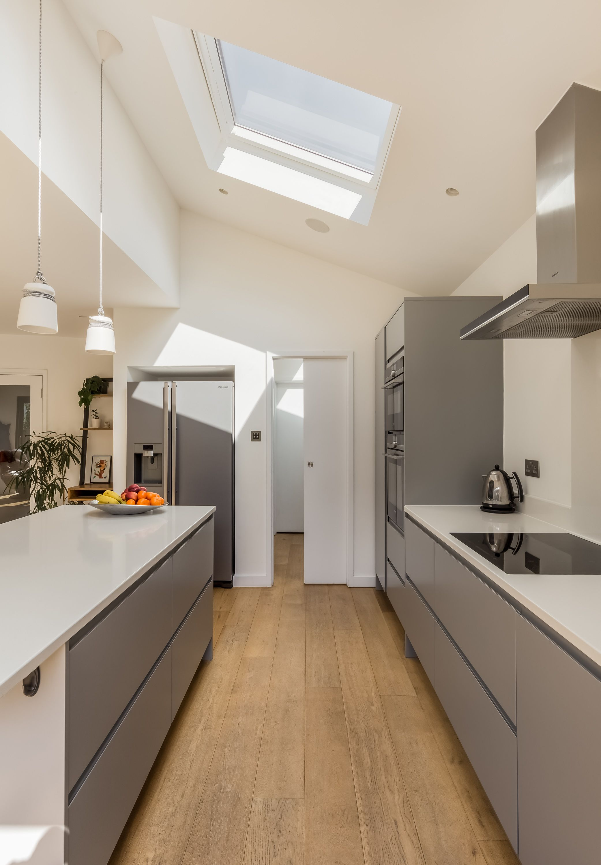 Side Kitchen Extension - Grey Modern Units - Sloped Roof