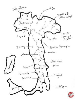 hand drawn italy wine map wine pinterest wine italy and wines Cities in Tuscany hand drawn italy wine map