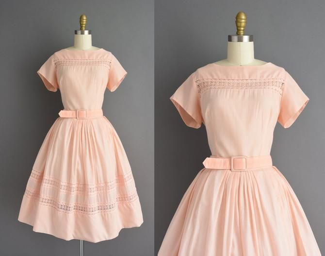 50s dress | Adorable peach pink cotton short sleeve full skirt shirt dress | Large | 1950s vintage dress by simplicityisbliss from Simplicity is Bliss of Long Beach, CA | ATTIC