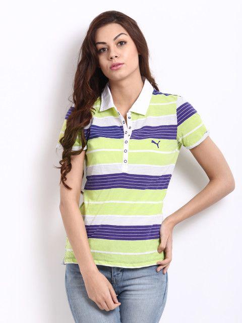 Buy Puma Women Green   Blue Striped Polo T Shirt - Tshirts for Women ... 28d84a0d08