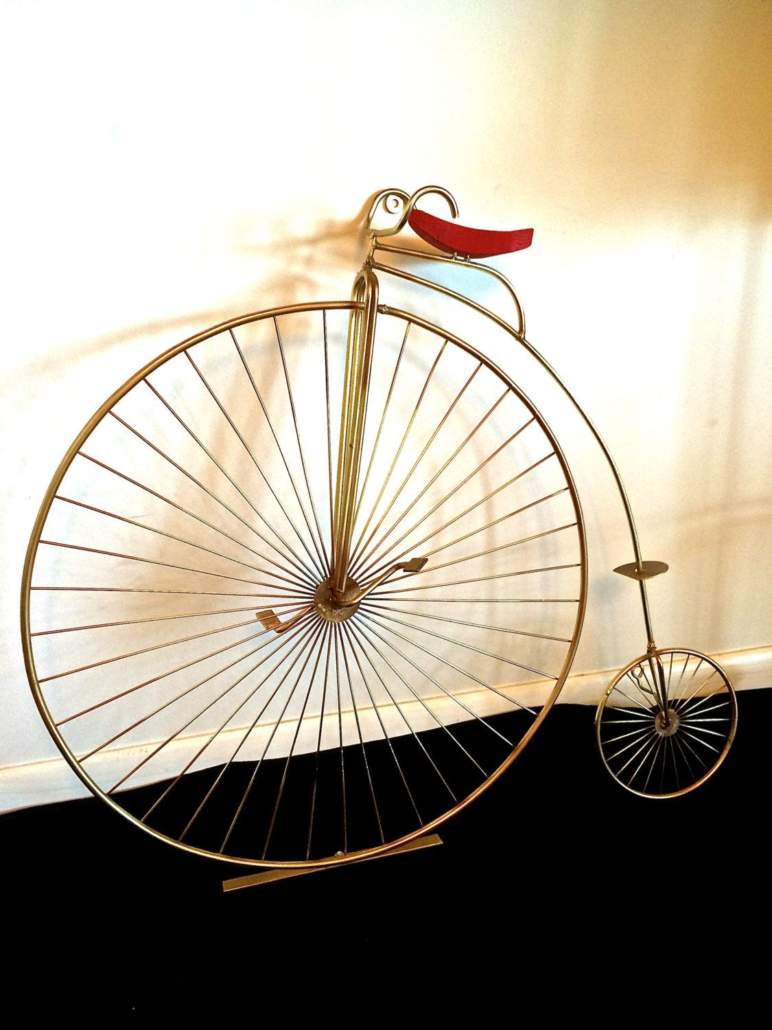 Vintage Signed C Jere Brass Sculpture Penny Farthing Bicycle Wall