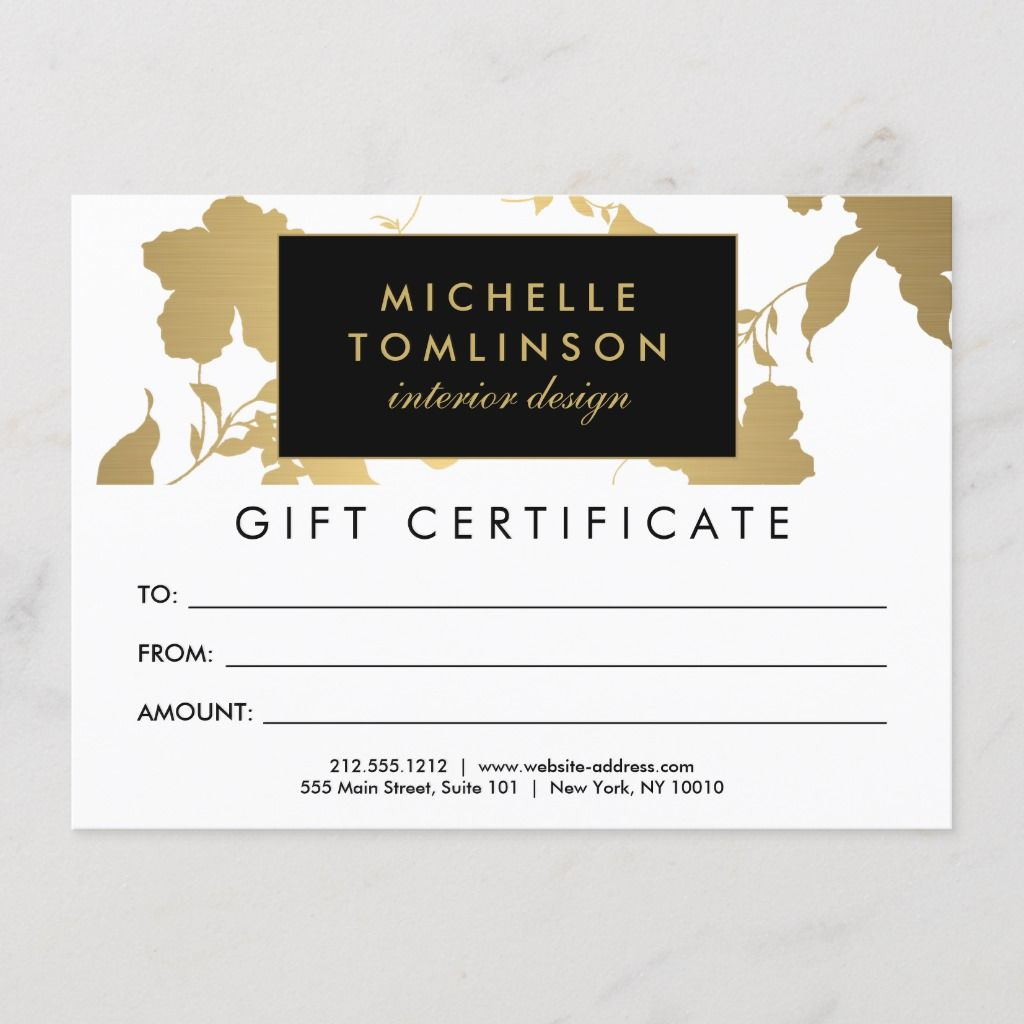 Elegant Gold Floral Pattern White Gift Certificate Zazzle Com In