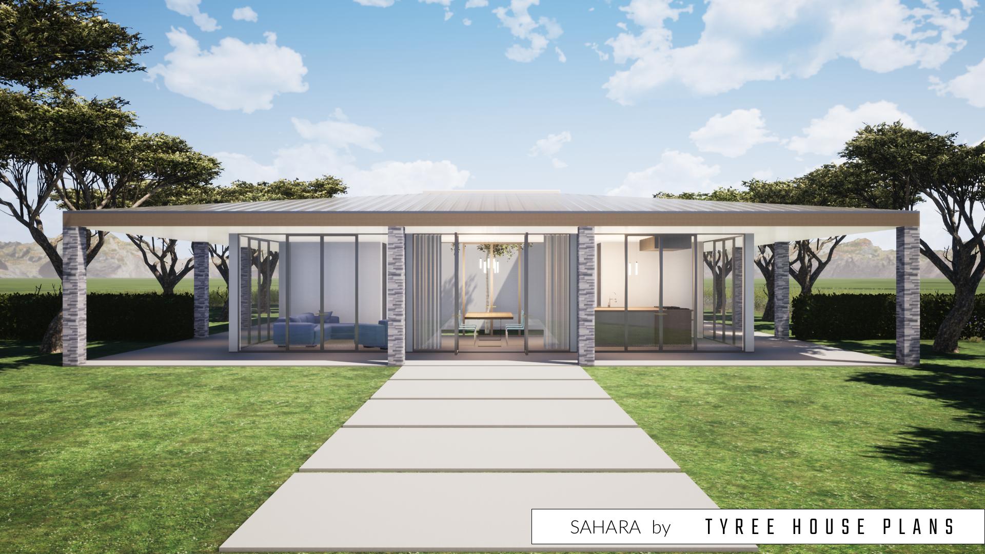 Ein Modernes Haus mit einem WraparoundVeranda. Eine 3