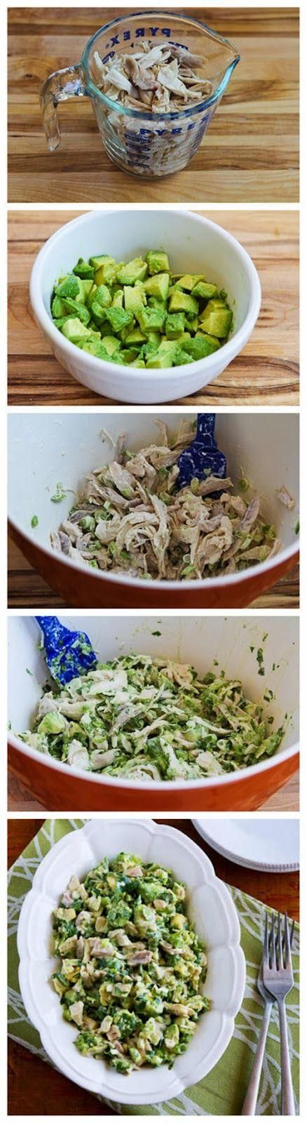 Chicken and Avocado Salad with Lime and Cilantro - Love with recipe