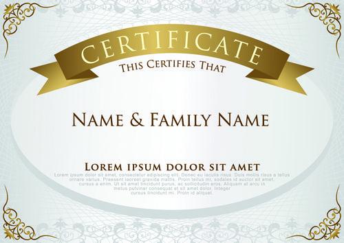 Elegant Certificate Template Vector Design 01  Certificate Designs Templates