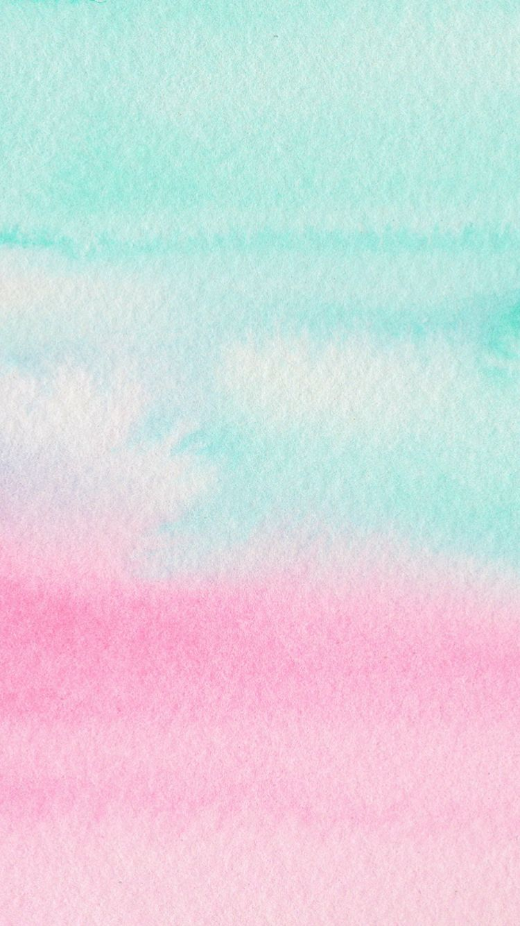 Mint And Pink Watercolour Iphone Wallpaper Pastel Wallpaper