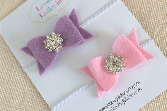 Rhinestone Felt Bow Headband or Hair Clip SET OF 2 for Newborn Baby Child or Adult in Pink & Lavender