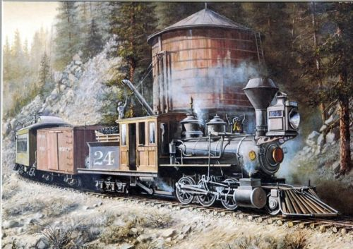 Long ago one could ride on Colorado's vintage D.S.P.&P. narrow gauge line, & behind a beautiful Mason Bogie like this! Maybe at a remote water stop, one might hike down to go fly fishing in a favorite alpine stream!!!