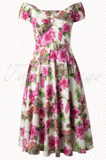 69921573bcfd 50s Dolores Pink Hibiscus Doll Swing Dress – 2019 | ihania vaatteita ...