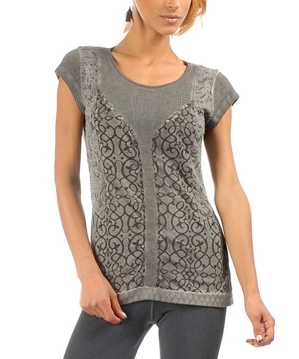 Look at this Gray Lattice-Panel Cap-Sleeve Tee on #zulily today!