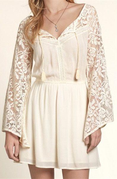 Lace Splicing Long Sleeve Dress