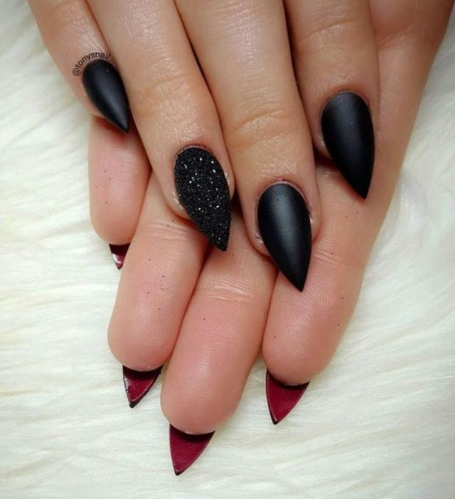 Black Nails With Red Underneath
