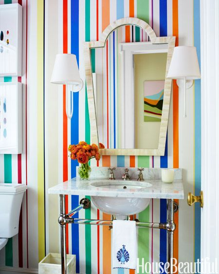 14 Colorful Ideas for Your Bathroom Paint designs, Paint stripes