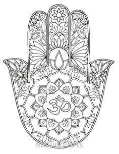 Pingl par kity sur mandala fleuri pinterest - Coloriage main de fatma ...