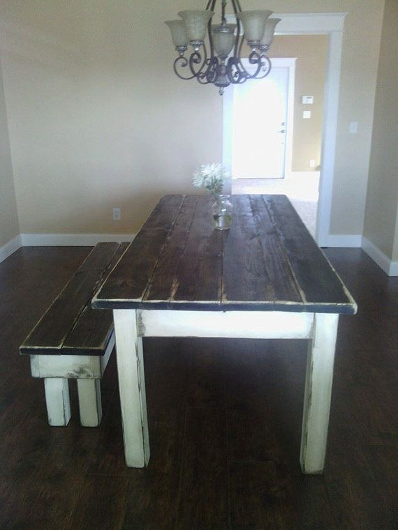 Large Primitive Distressed Dark Walnut Stained Antique Country White Farmhouse Farm Kitchen Table W Matching Bench 37 1 4 X 84