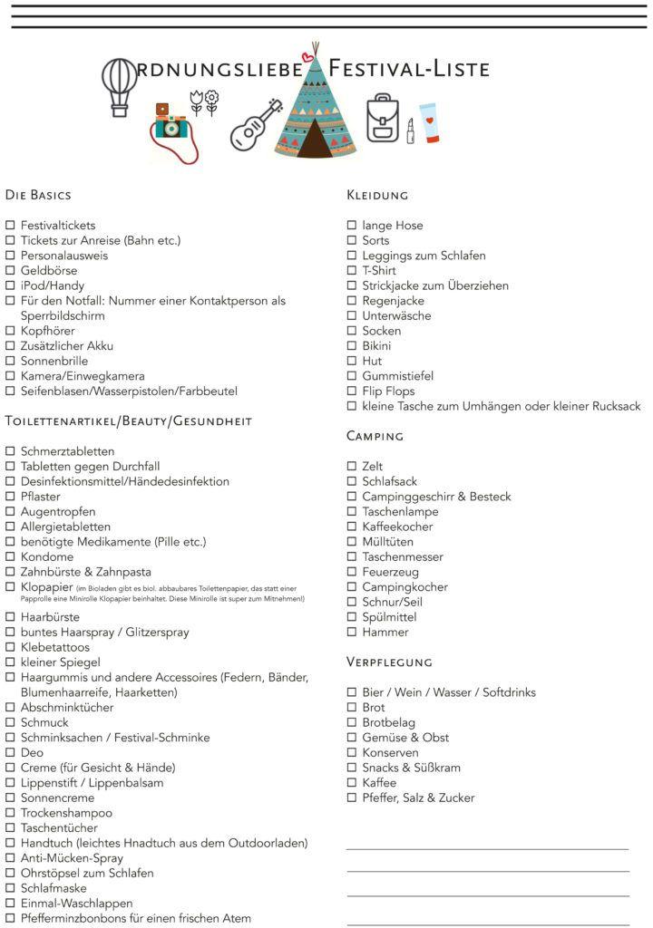 Downloads | Pinterest | Festival packliste, Festival checkliste und ...