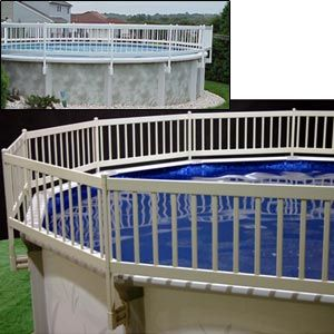 Vinyl works canada above ground pool fencing garden for Above ground pool vinyl decks
