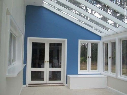 Glass conservatory - feature wall. Pic 5.Glass conservatory - feature wall. Internal paint ...