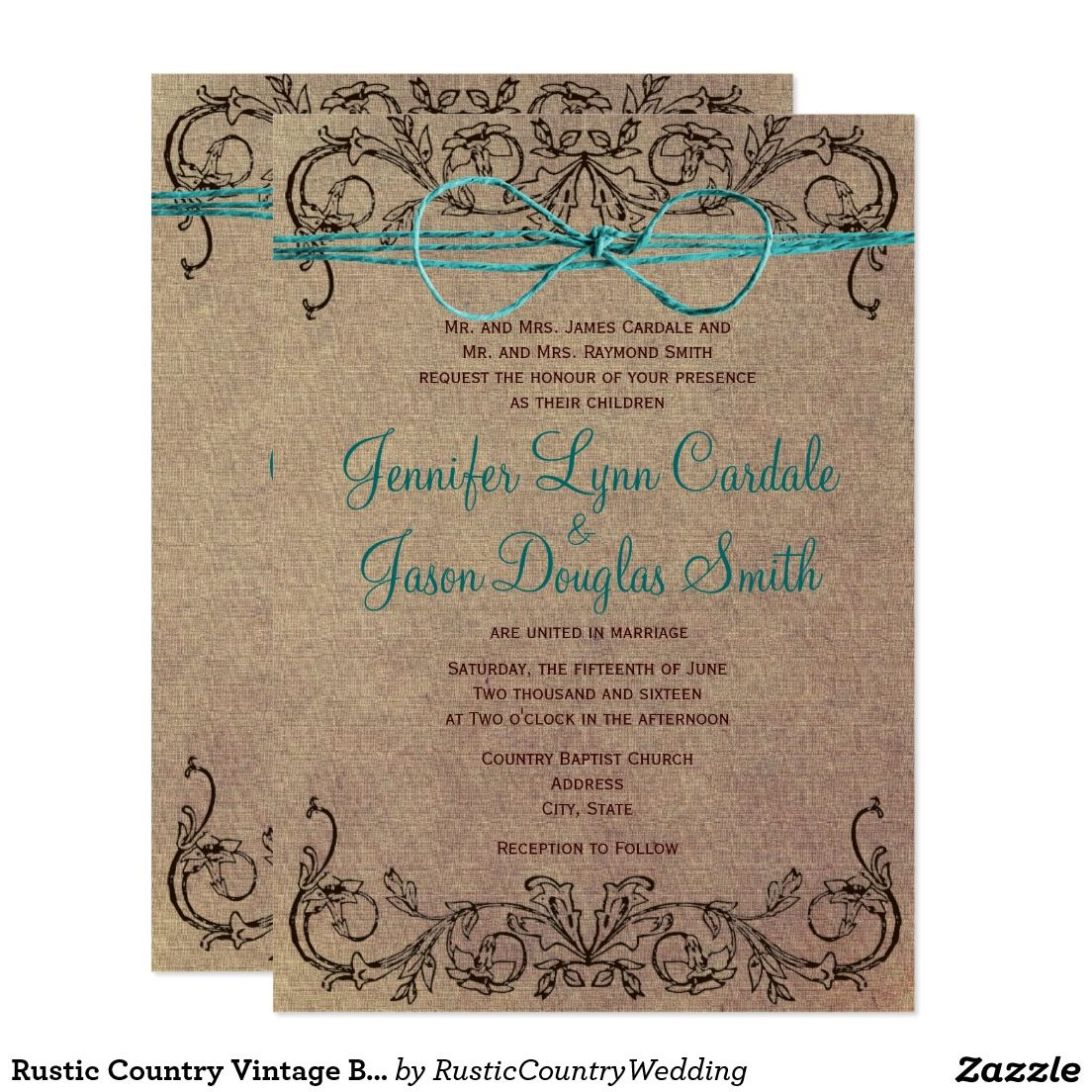 Rustic Country Vintage Brown Teal Wedding Invites | Country ...