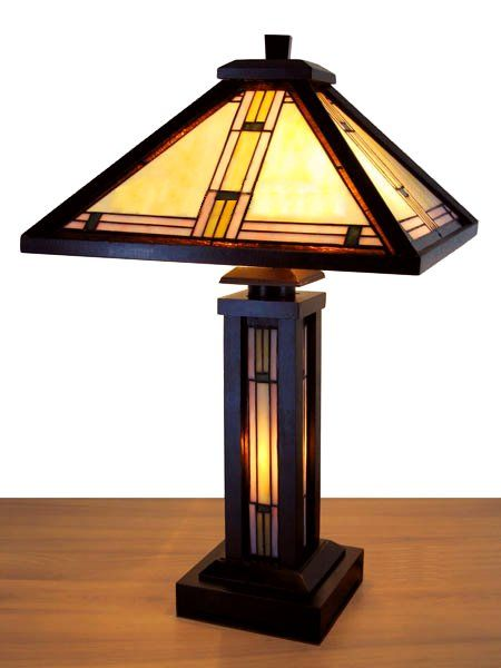 Mission Wood Stained Glass Tiffany Table Lamp Craftsman Lamps