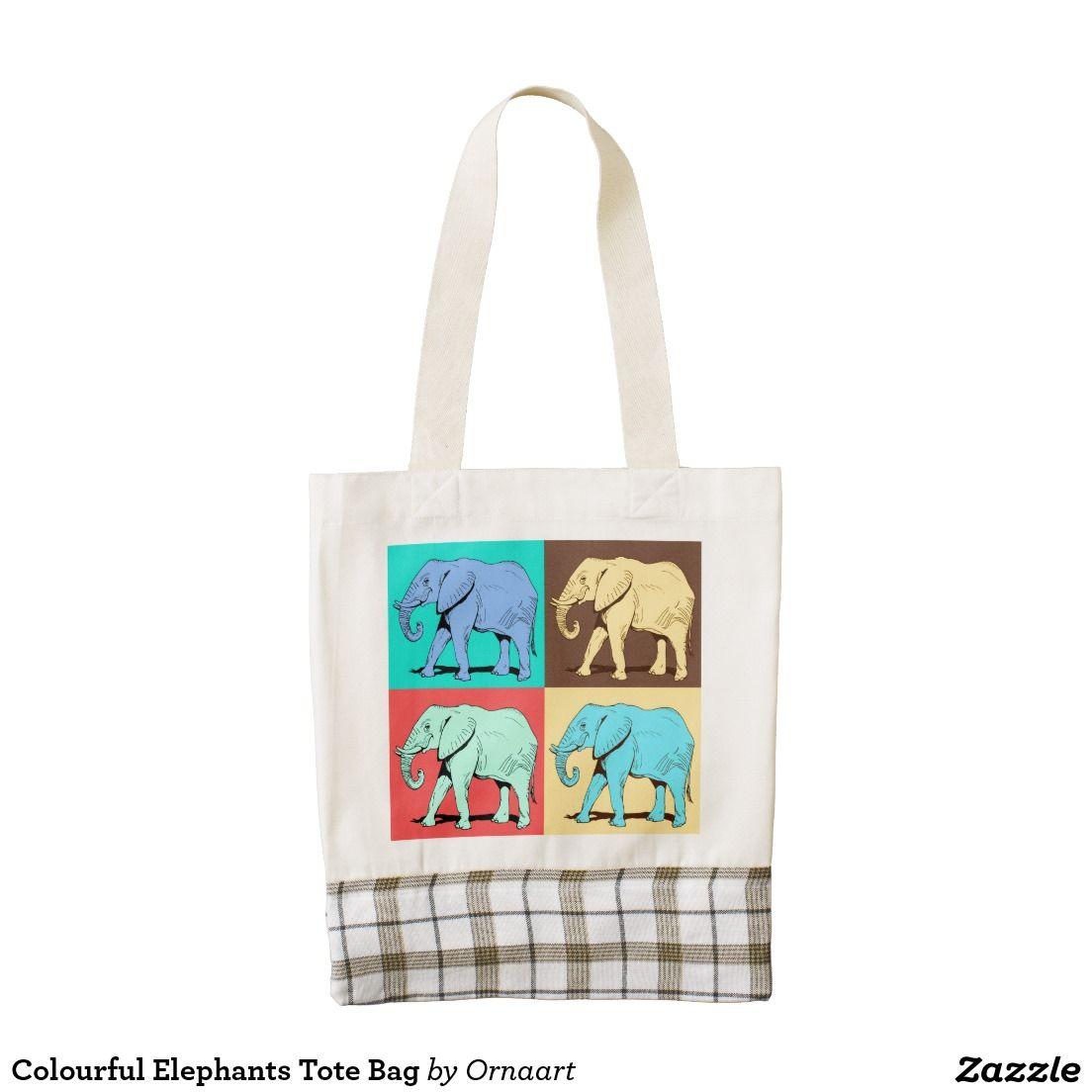 Colourful Elephants Tote Bag Zazzle HEART Tote Bag