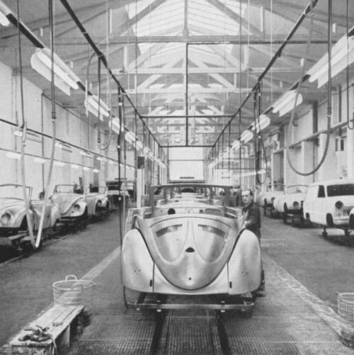 Volkswagen History, Early Oval Karmann Convertible Assembly Line