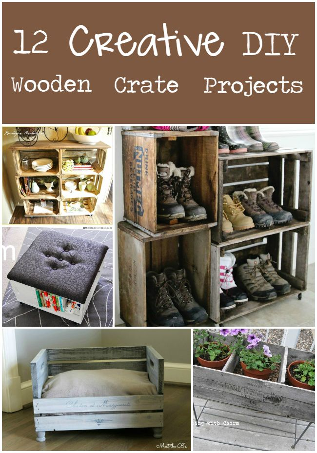 12 creative diy projects from wooden crates diy ideas diy wooden crate diy wooden projects. Black Bedroom Furniture Sets. Home Design Ideas