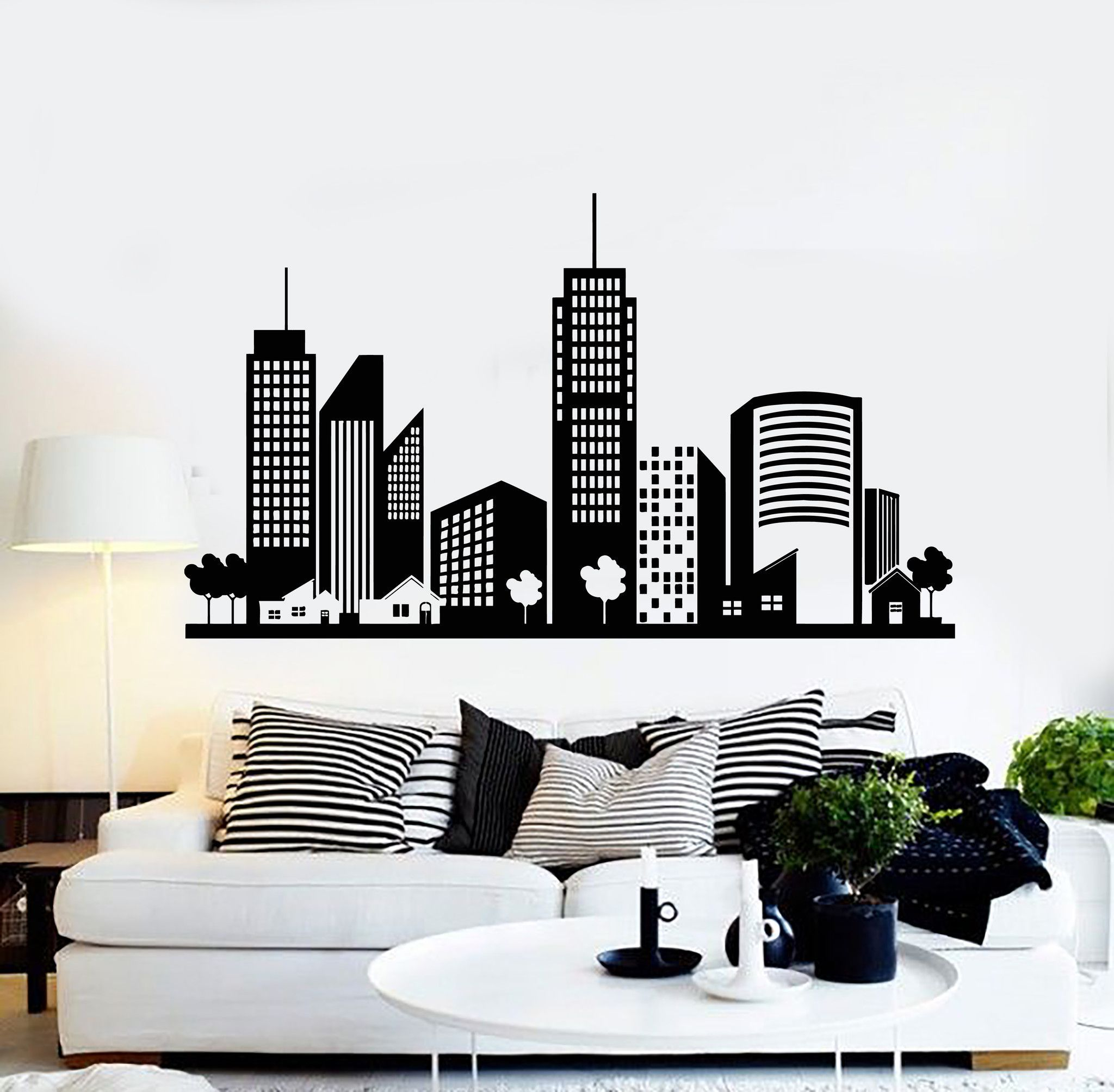 vinyl wall decal city buildings house interior stickers on wall stickers for home id=92195