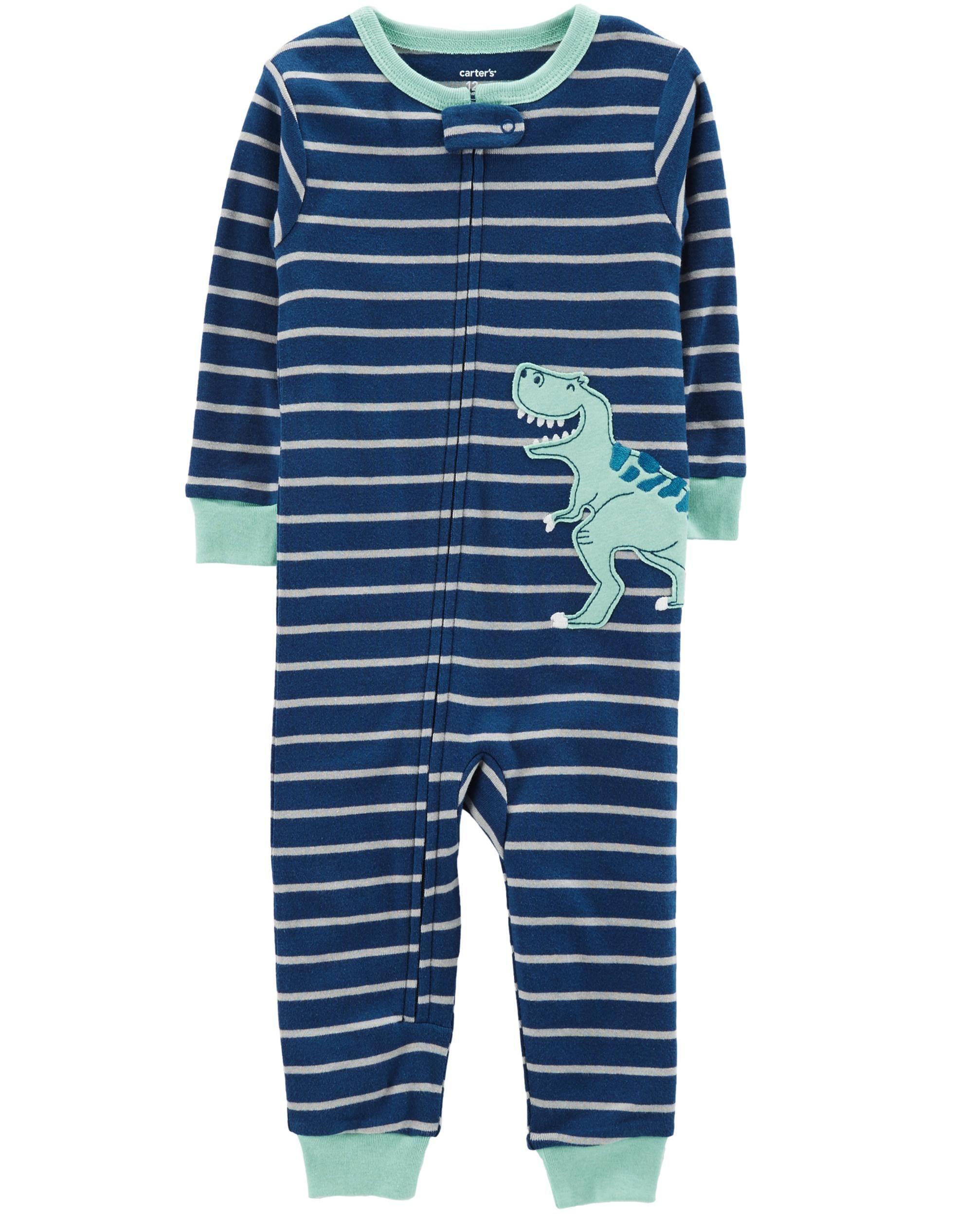 157c70c27 1-Piece Dinosaur Snug Fit Cotton Footless PJs