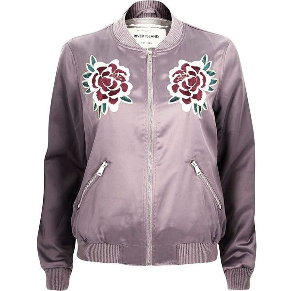 f3735bdc4 River Island Light purple satin floral bomber jacket ($64) ❤ liked ...