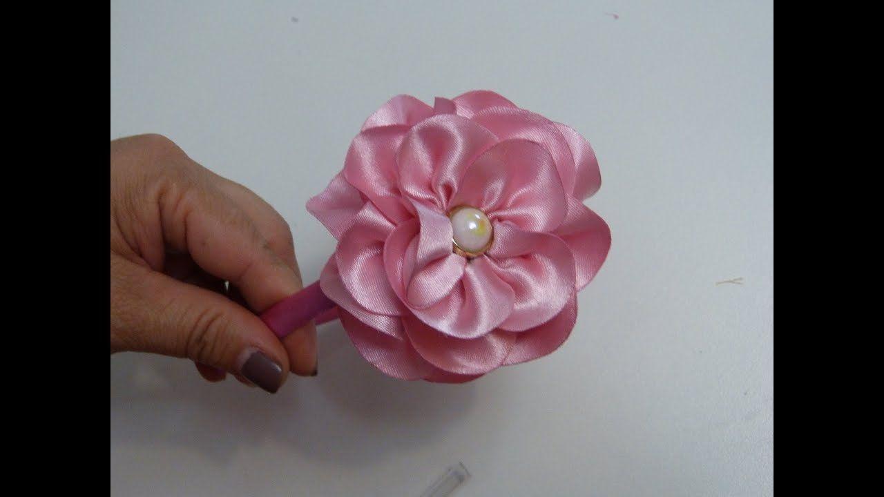 Hermosas Flores De Cinta Raso Easy Flower Ribbons Diy Flores Cinta Tutorial Youtube Flores De Tela Flores De Cinta Cintillo Para Bebés