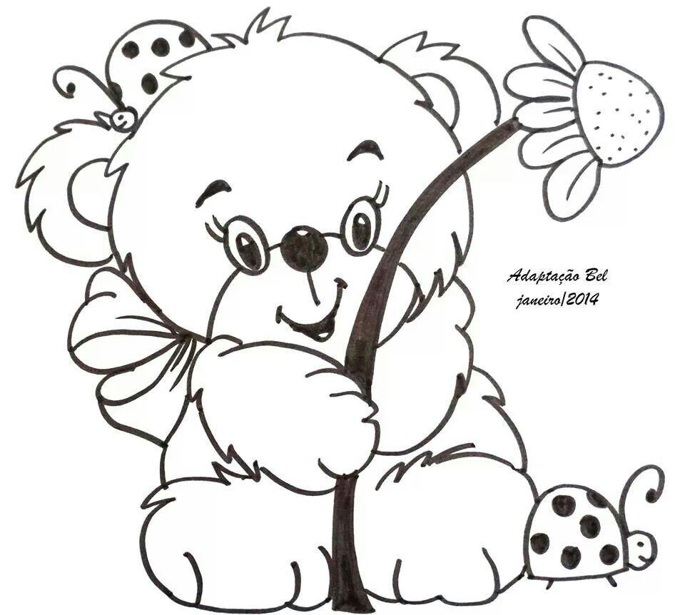 Bear Cute Girl Digitale Stempels Kleurplaten Tekenen Voor Kinderen